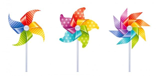 風車のおもちゃアイコン。白で隔離される風車セット。