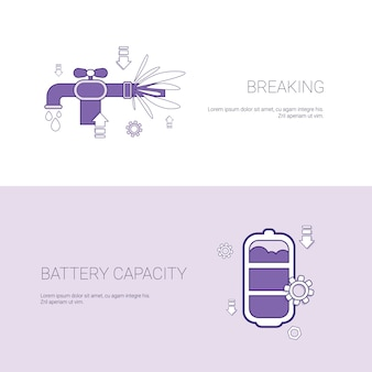Pipe breaking and battery capacity concept template banner