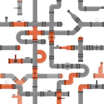 물, 연료, 석유 및 가스 산업 요소에 대한 파이프 커넥터 및 밸브 배경 패턴. 벡터 일러스트 레이 션