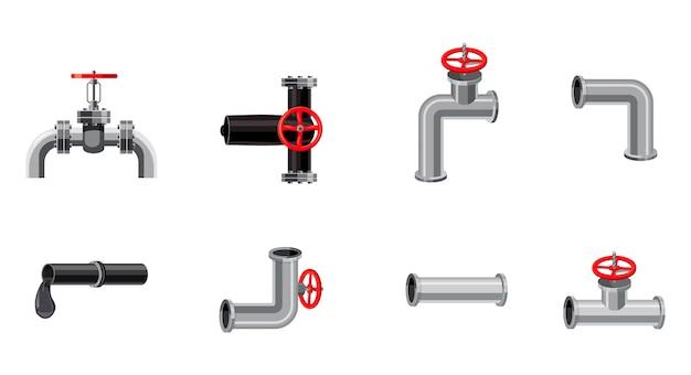 Pipe elements set. cartoon set of pipe