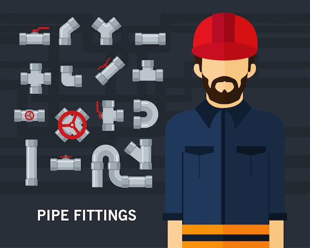 Pipe fittings concept background