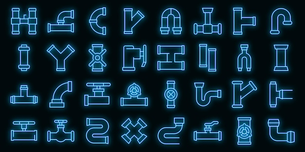 Pipe icons set vector neon