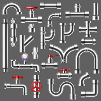 배경에 고립 된 밸브와 금속 튜브 수도꼭지 연결의 금속 배관 시스템 그림 세트의 파이프 배관 파이프 라인 또는 파이프 배관 건설