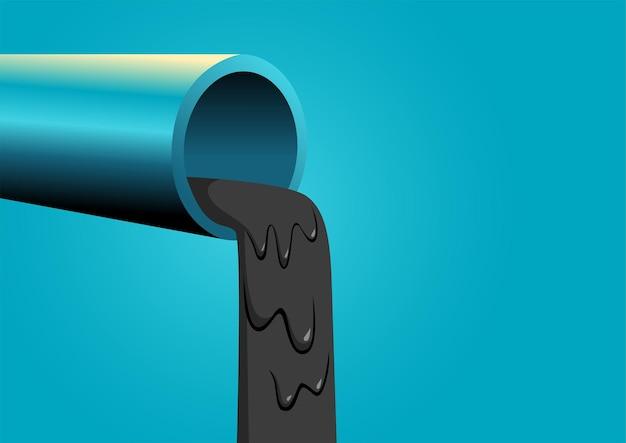 産業廃棄物と水質汚染のための黒い液体の概念を注ぐパイプ