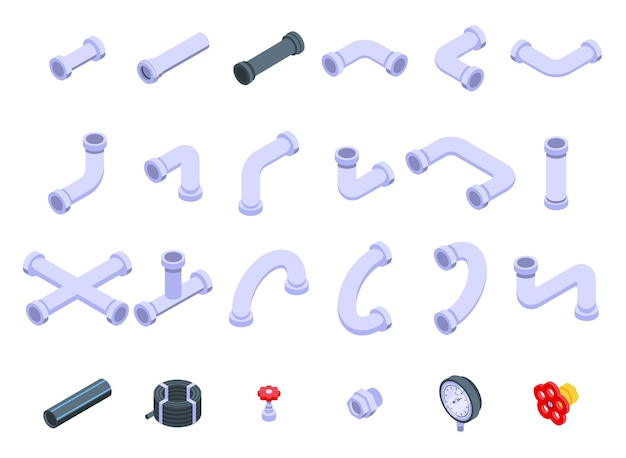 Набор труб. изометрические набор труб для веб-дизайна, изолированные на белом фоне