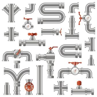 파이프 라인 건설. 수도관 섹션, 산업용 튜브 파이프 엔지니어링, 회전식 손잡이 및 카운터 아이콘이 설정된 파이프 건설. 일러스트레이션 튜브 건설, 파이프 라인 배관