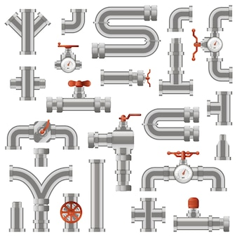 Pipeline construction. water pipe sections, industrial tube pipes engineering, pipe construction with rotary knobs and counters  icons set. illustration tube construction, pipeline plumbing