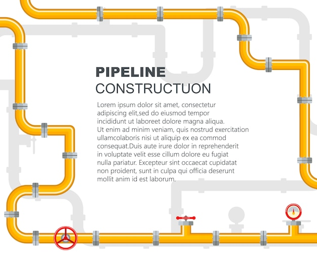 Pipeline industrial. the lever opens or closes the valve.