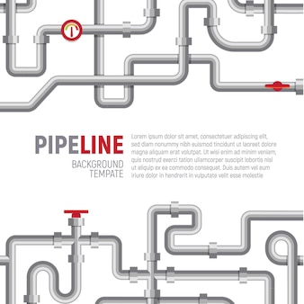 Pipelines pattern on poster template with text template, vector illustration