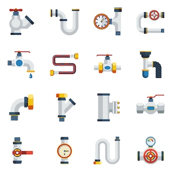 Pipes icons set