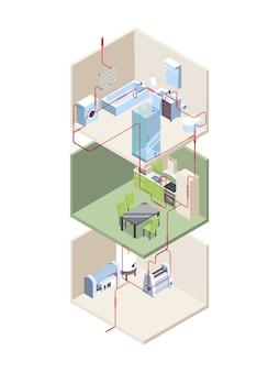 파이프 설치. 온수 및 냉수 파이프 현대 시스템 벡터 아이소 메트릭으로 집 횡단. 파이프 라인 단면, 건설 설치 그림