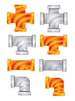 Pipes plumbing color orange and gray candy icon set.