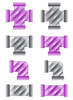 Pipes plumbing color purple and gray candy icon set in different.