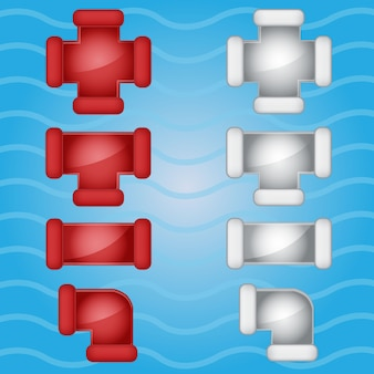 Pipes plumbing color red and gray candy icon set