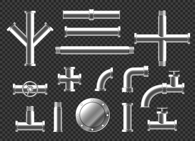 Pipes and tubes plumbing fittings realistic 3d set. metal or plastic pipeline with valves, thread and faucets. stainless steel metallic ramified connections isolated on transparent background