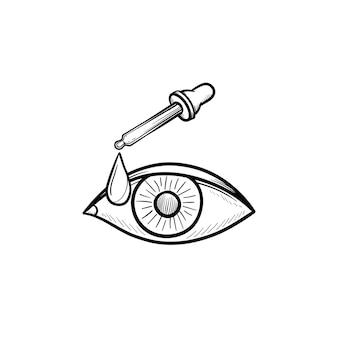 Пипетка и глаз рука нарисованные наброски каракули значок