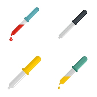 Pipette medical dropper tool icons set