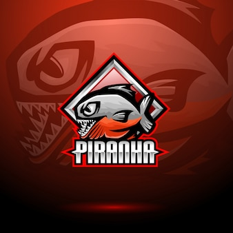 Piranha esport mascot logo design