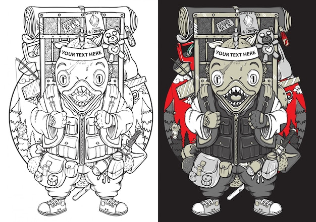 Piranha fish backpacker samurai japan outline and coloring character