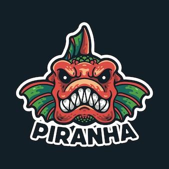 Piranha fish illustration character vintage