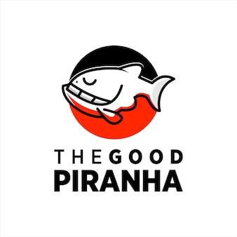 Пиранья дизайн логотипа простой талисман рыбы вектор