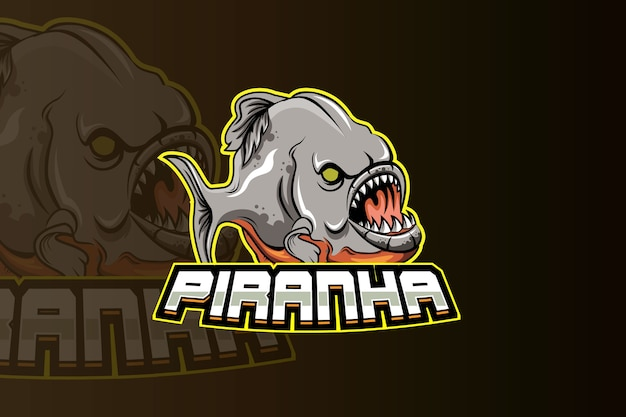 Piranha mascot logo for electronic sport gaming logo