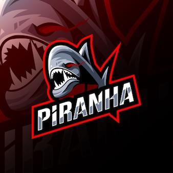 Пиранья талисман логотип кибер шаблон