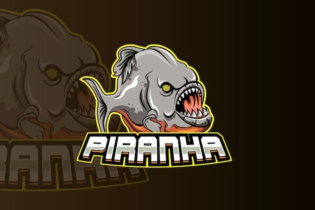 電子スポーツゲームのロゴのピラニアマスコットロゴ