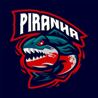 Piranha mascot logo for sport and esport isolated