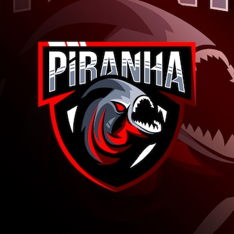 Шаблон логотипа талисмана пираньи