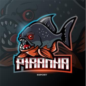 Логотип талисмана пираньи Premium векторы