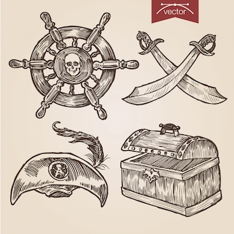 Pirate accessories set in handdrawn engraving style
