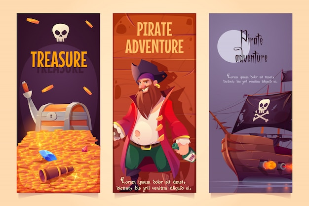 Pirate adventure vertical banners set