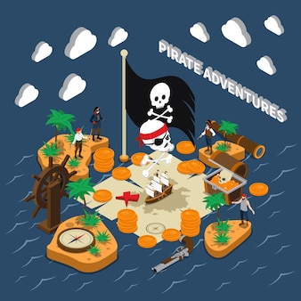 Pirate adventures isometric composition