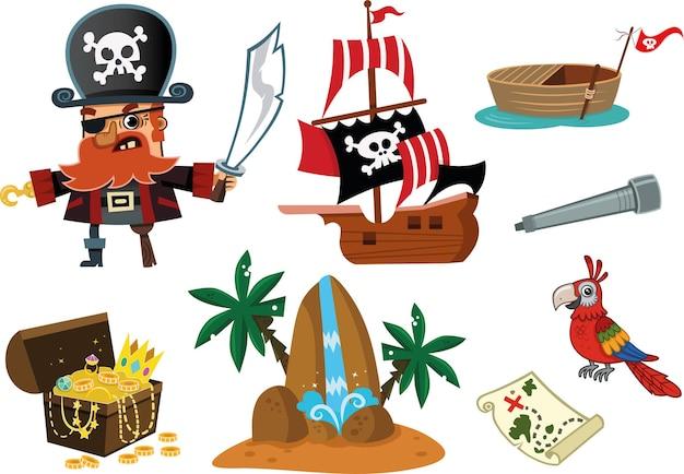海賊と彼のもののベクトル図