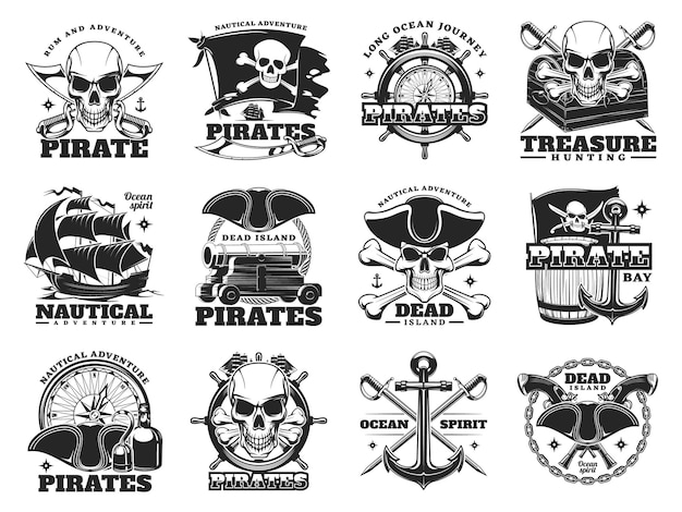 頭蓋骨の島と海の船、ベクトルの海賊と宝探しのアイコン。髑髏のクロスボーン、宝箱、航海コンパス付きの船の舵を持つメリーロジャー旗の海賊の宝物冒険の兆候
