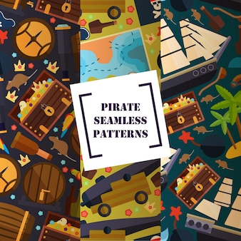 Pirate attribute seamless pattern flat icons symbols of piracy ship map cannon