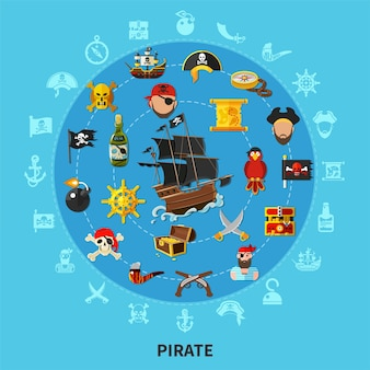 Pirate attributes including sail ship, weapon, treasure, map, parrot, round cartoon composition