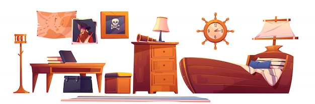 Pirate baby room interior set, thematic furniture