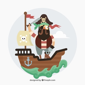 Pirate background on boat in flat design