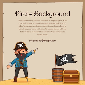 Pirate background and other hand drawn elements