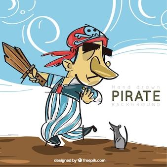 Пиратский фон с рисованной мышью