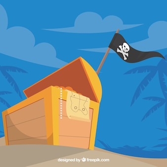 Pirate background with chest full of coins
