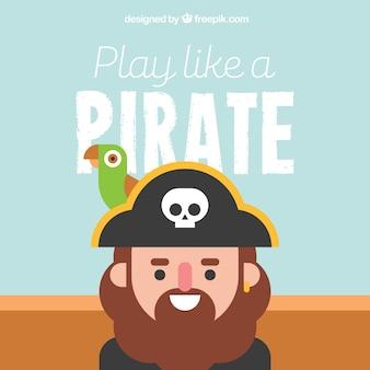 평면 디자인에 앵무새와 해적 배경
