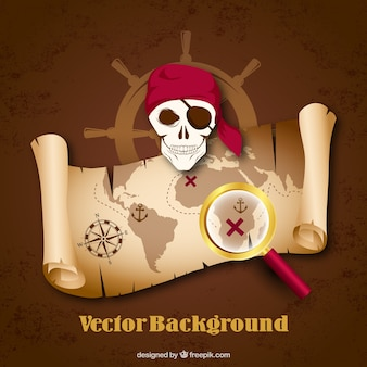 Pirate background with treasure map and magnifying glass