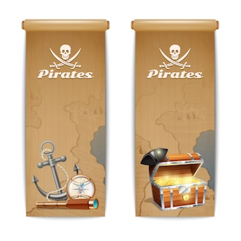 Pirate banner set with retro treasure hunt symbols isolated