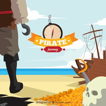 Pirate on the beach surrounded by treasures background