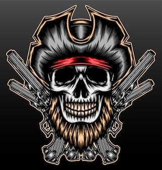 Pirate bearded skull isolated on black