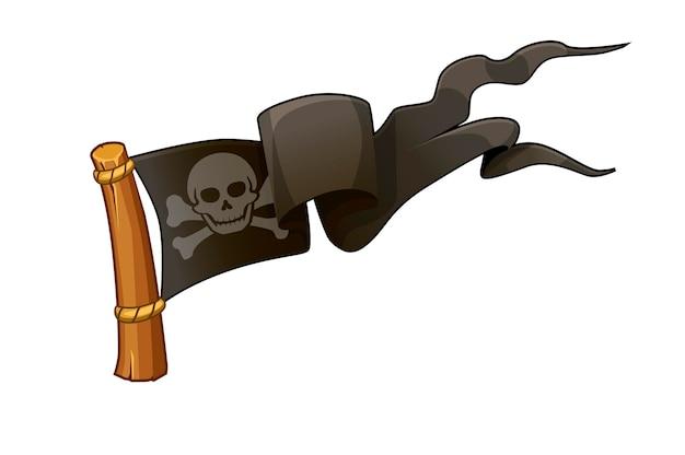Пиратский черный флаг, череп с костями для игры. векторная иллюстрация веселого роджера, значок флага.