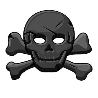 Пиратская черная метка, череп со скрещенными костями для игры. векторная иллюстрация страшного баннера с человеческим скелетом.